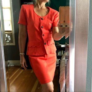 Coral Skirt Suit Vintage